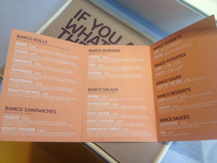 banco menu
