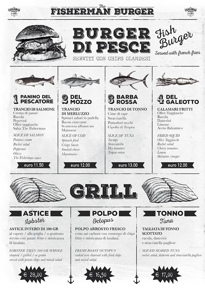 the fishman burger menu
