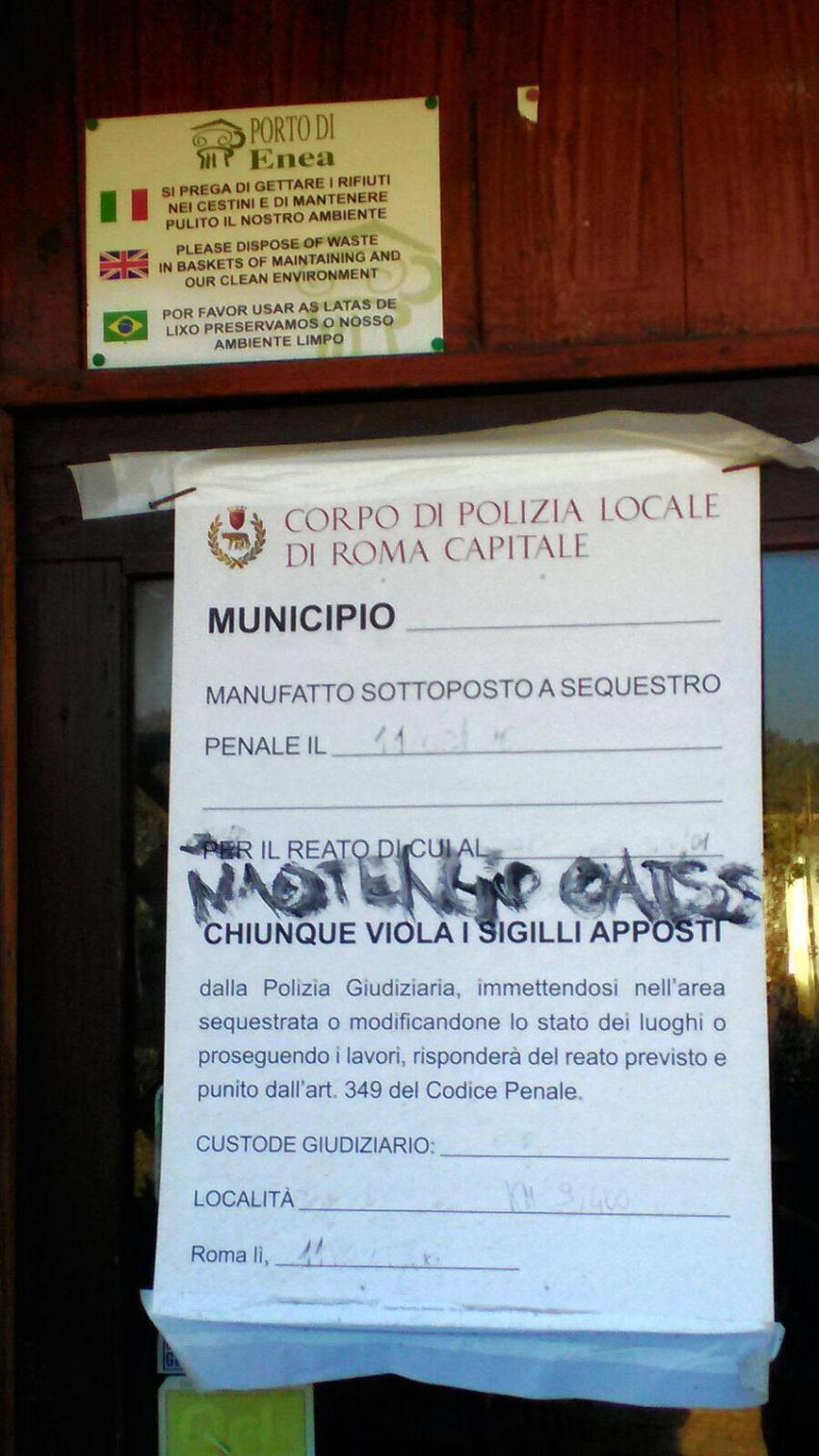 Porto di Enea chiuso Capocotta