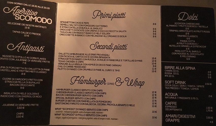 Scomodo menu