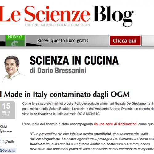 """Leggere Bressanini fa bene (anche se non siete d'accordo): """"Giù la maschera: il made in Italy è fatto con gli Ogm"""""""