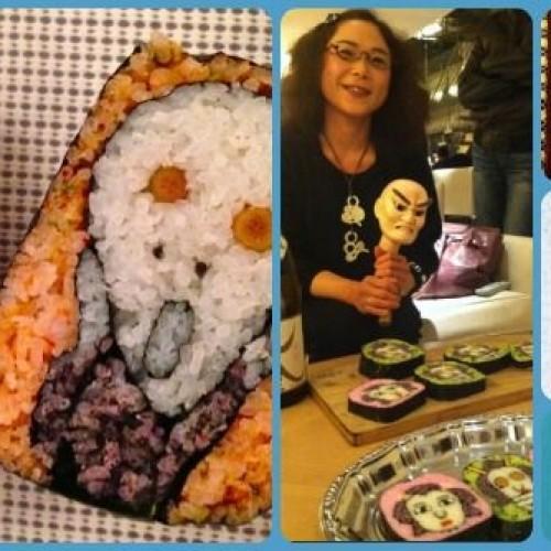 Smile sushi, le opere d'arte di Tama-chan realizzate con chicchi di riso colorati