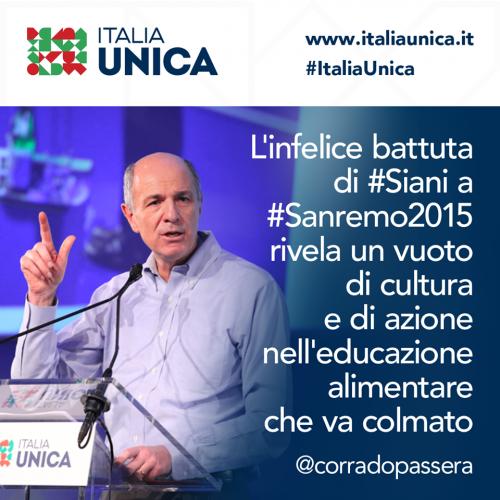 La gaffe di Siani a Sanremo sul bambino obeso e il tweet di Passera