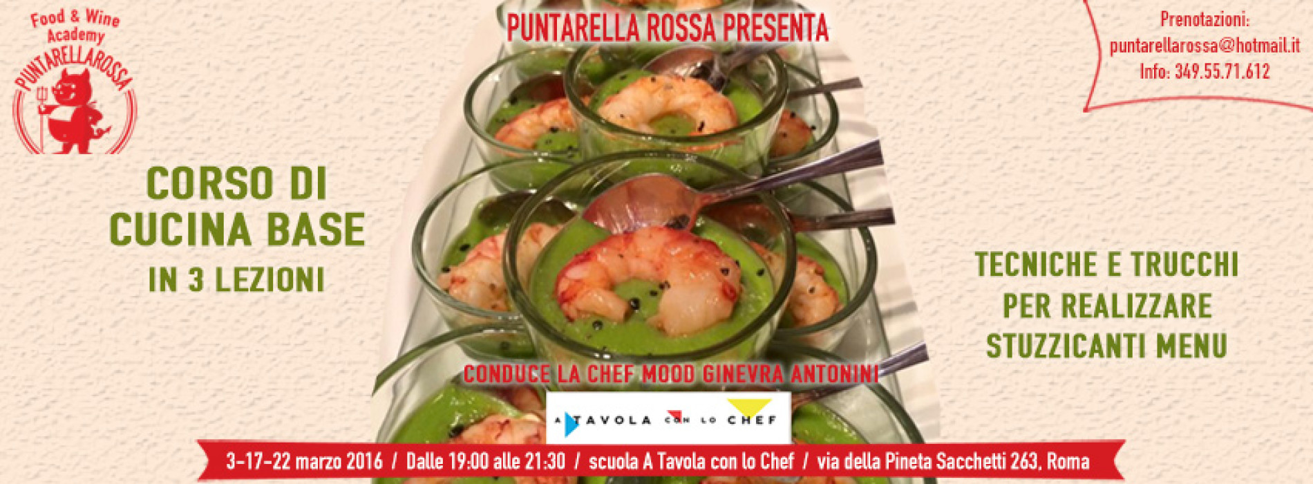 Corso di cucina Roma, marzo 2016