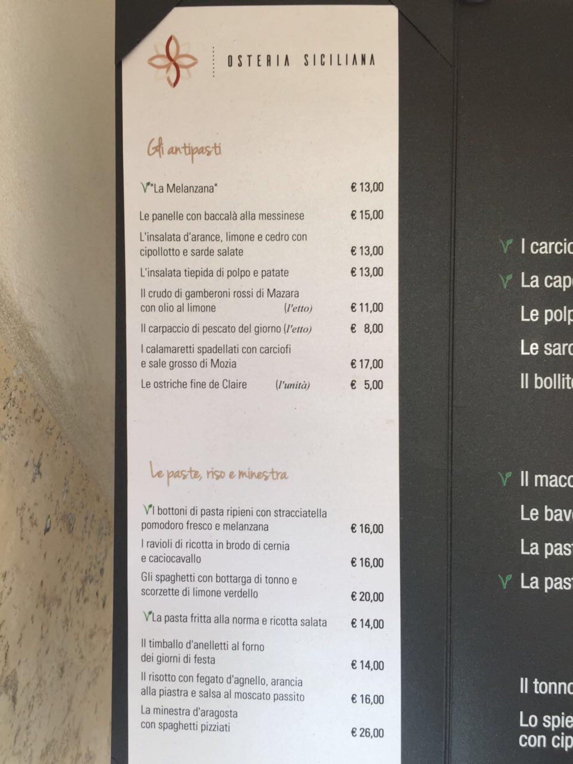 Osteria Siciliana Roma Menu E Prezzi Del Ristorante Di Nino