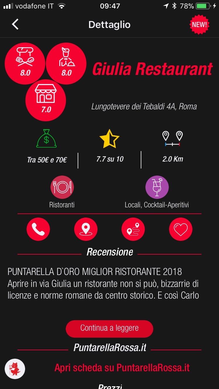scheda ristorante app puntarella 2018