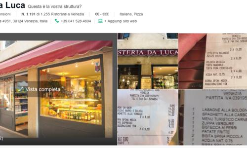 """Quante Osteria da Luca ci sono a Venezia? Date un occhio a Tripadvisor: """"Insolitamente male"""""""