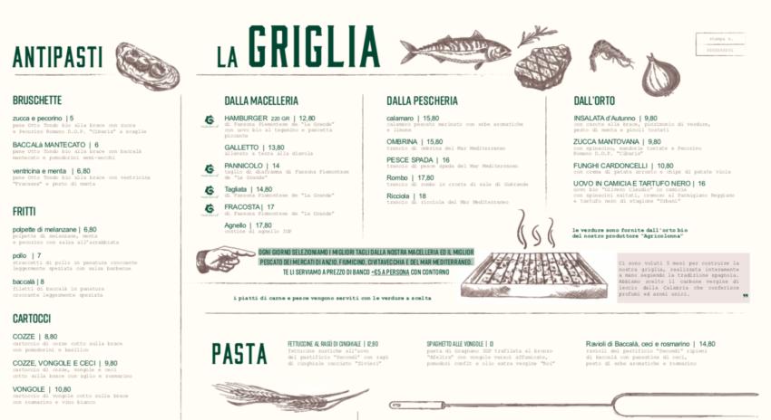 Terra Roma Eataly menu e prezzi