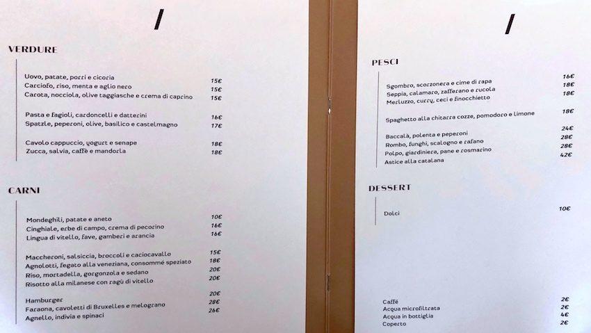 Altrimenti Milano, il menu del ristorante di Boer